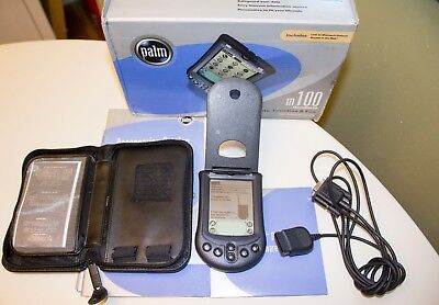 Palm m100 handheld vintage PDA with serial sync cable and leather case
