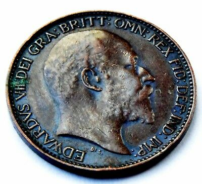 1903 Great Britain King Edward Vii  Copper One Farthing Coin Very Good Condition