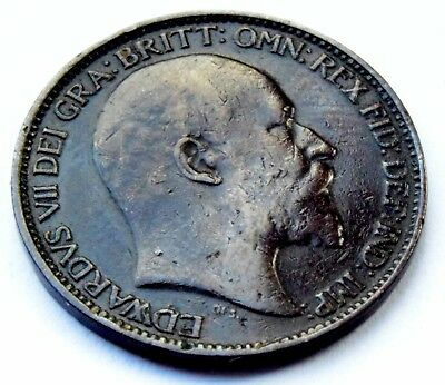 1902 Great Britain King Edward Vii  Copper One Farthing Coin Very Good Condition