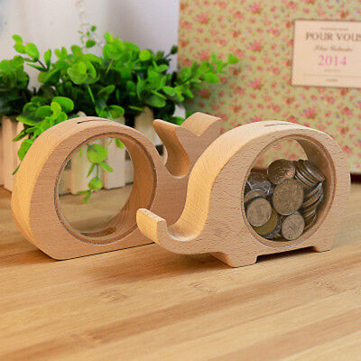 Creative Handcrafted Wooden Piggy Bank Saving Money Coin Box for Kids Gift