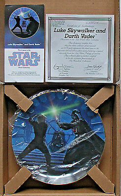 STAR WARS LUKE SKYWALKER AND DARTH VADER PLATE 3rd IN FIRST SERIES HAMILTON NEW
