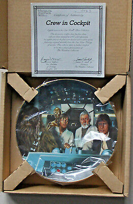 STAR WARS CREW IN COCKPIT PLATE 8th IN FIRST SERIES  THE HAMILTON COLLECTION NEW
