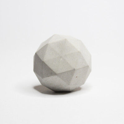 Concrete Round Geodesic Cabinet Knob or Wall Hook grey or white. geometric