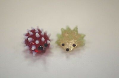 Pair of Miniature Glass Porcupine Statue Figurine Sculpture