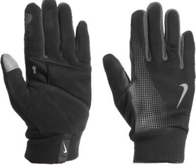 Nike Mens Thermal Tech Running Gloves Black Grey Touch Screen Technology Large