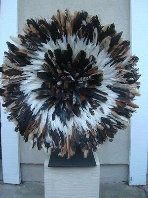 "32""  2tone  / African Feather Headdress / Juju Hat / 1st. Quality / ""Beautiful"""
