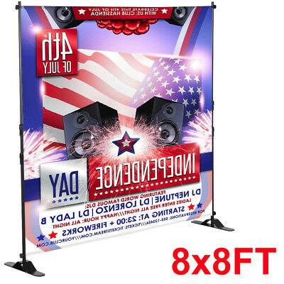 8' FT Retractable Banner Stand Step and Repeat Telescopic Backdrop Display Stand