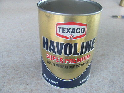 Vintage Texaco Havoline Super Premium Motor Oil Can,1 Full Quart,nos, Clean, Vgc
