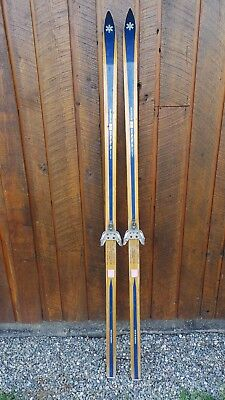 "VINTAGE Wooden 71"" BLUE Skis with Bindings and Signed BONNA"