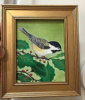 """Original Miniature 4"""" x 5"""" Framed Oil Painting of a Chickadee on a Holly Bush"""