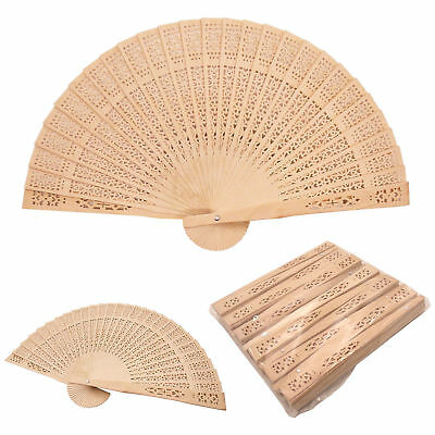 12pc Sandalwood Chinese Hand Fan Wedding Vintage Shower Favor Decorations