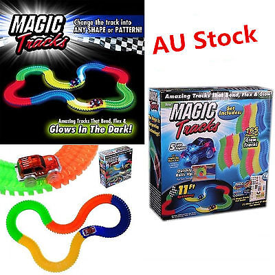 MAGIC TRACKS Glow in the Dark LED LIGHT UP RACE CAR Bend Flex Racetrack Kid Toys
