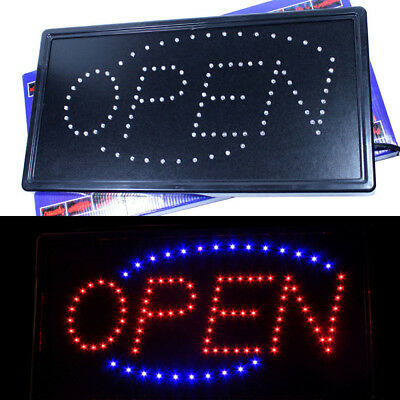 LED Neon Animated Motion Running Lighted OPEN Business SIGN Horizontal rectangle