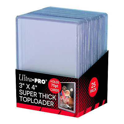 """UltraPro Ultra Pro Toploader Trading Card Protector 75pt 3x4"""" Pack of 25 NEW"""