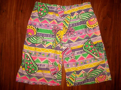 vintage 80`s shorts beach neon pants olschool surf new wave 80er Jahre 164 S