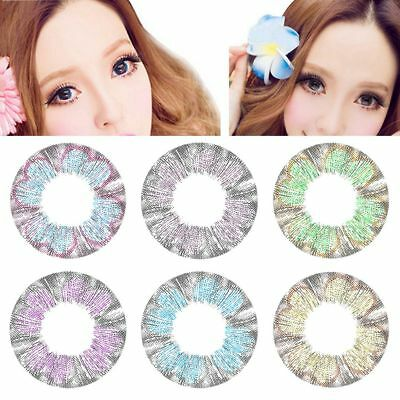 1X Fashion Yearly Colored Cosmetic Contact Lenses Circle Big Eyes Makeup Beauty