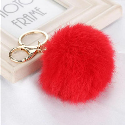 Pompon Lovely Red Ball Fur PomPom Keychain Purse Pendant Key Ring Chain Keyfob