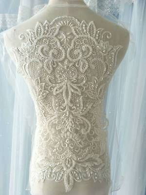 1pc Pearl Bead Bridal Wedding Lace Applique Ivory Floral Embroidered Exquisite