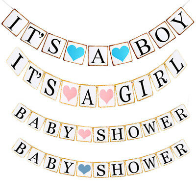 Baby Shower Banner It's A Girl Boy Hanging Bunting Garland Party Decoration 1 x