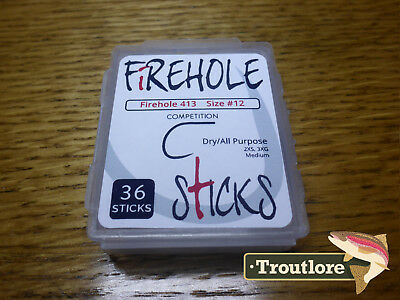 36 x FIREHOLE STICKS 413 #12 BARBLESS WIDE GAPE DRY HOOKS - NEW FLY TYING HOOK