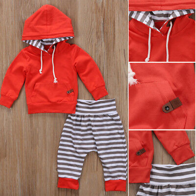 Newborn Infant Baby Boy Girls Clothes Hooded T-shirt Tops+Pants Outfits US STOCK