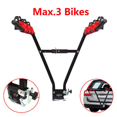 3 Bike Rear Towbar Mount Cycle Carrier Car Rack Tow Bar UK Stock Black and Red
