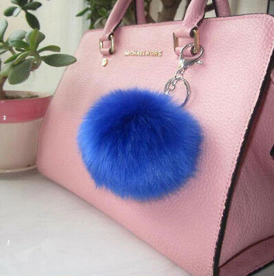 Pompon Charm Lovely Blue Ball Fur PomPom Keychain Purse Pendant Key Ring Keyfob