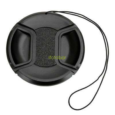 77mm Center pinch Snap on Front Lens Cap Cover for Canon Nikon Sony with string