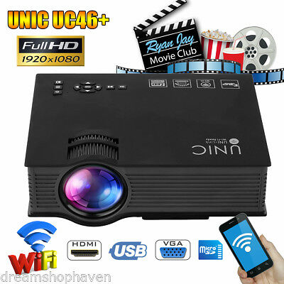 UNIC UC46+ HD 1080P Proyector LED WIFI Home Cinema HDMI USB VGA AV PC Teatro ES