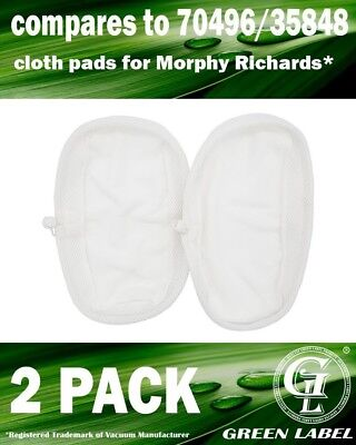 2 Pack For Morphy Richards Steam Mop Spare Cloth Pads (compares To 70496, For