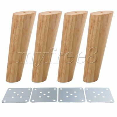 4 Pieces 18cm Height Oblique Tapered Wood Furniture Legs Sofa Feet