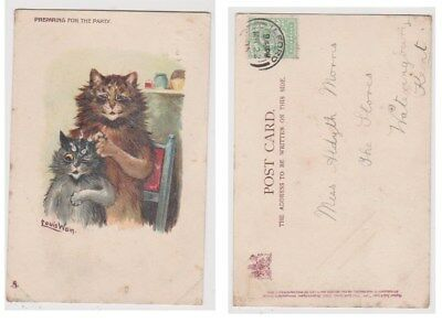 Early Postcard, Animals Cats, Artist Signed Louis Wain, Preparing For Party,1905
