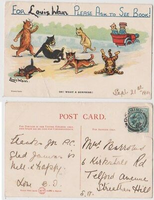 Early Postcard, Animals Cats, Artist Signed Louis Wain, Oh What A Surprise, 1904