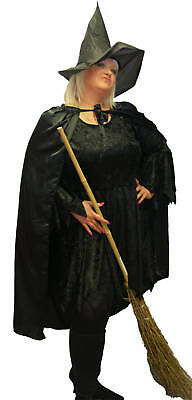 Halloween-Witch-Gothic- WITCHES BLACK SATIN CAPE/CLOAK Fancy Dress Accessory