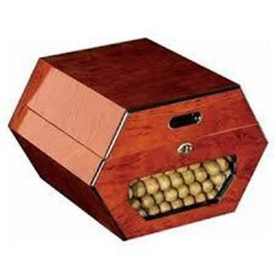 CUBAN WHEEL 50 Cigar Humidor Unique Hexagon Burl Gloss Cherry - SHIPS FREE