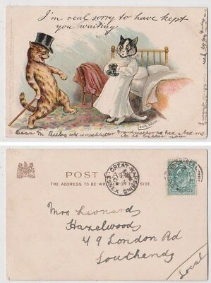 Early Postcard,Animals Cats,Artist Signed Louis Wain,Sorry To Have Kept You,1904