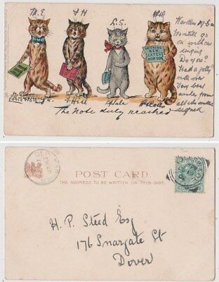 Early Postcard,Animals Cats,Artist Signed Louis Wain,The Note Duly Reached, 1902