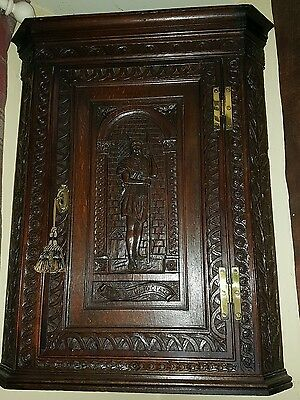 Stunning Antique Hanging Corner Cabinet,  carved with soldier. Beautiful piece