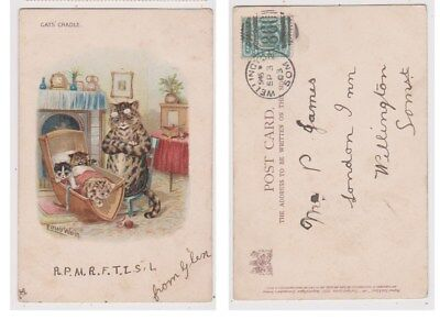 Early Postcard,Animals Cats,Artist Signed Louis Wain, Cats Cradle, 1903