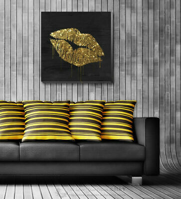 Fashion Golden Lips Stretched Canvas Print Framed Wall Art Hanging Office Decor