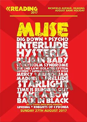Muse - Reading Festival - Sunday 27th August 2017 - Set List Poster