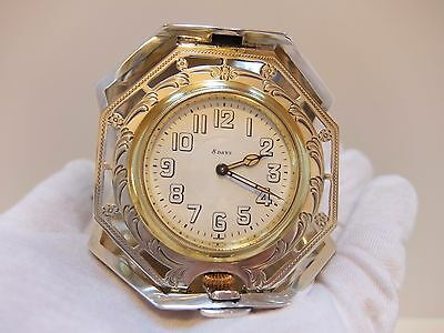 ANTIQUE STERLING SILVER 8 DAY TRAVEL DESK CLOCK (Watch video)