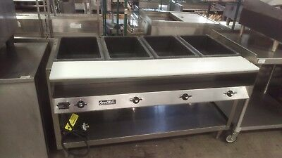 Vollrath 4 well steam table, hot food table, new cutting board 38104, 120v