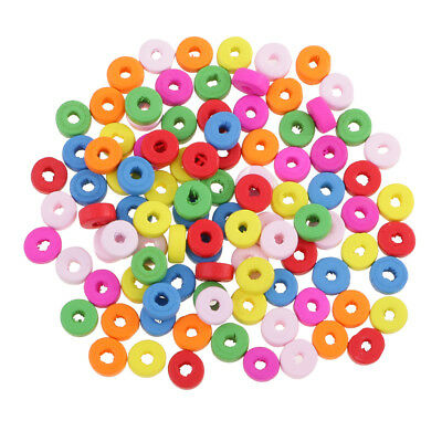 100pcs Colorful Wood Rondelle Beads Large Hole for Jewelry Making Crafts 8mm