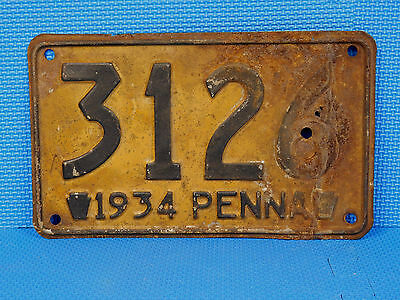 Pennsylvania License Plate Tag 3126 1934 Penna Pa