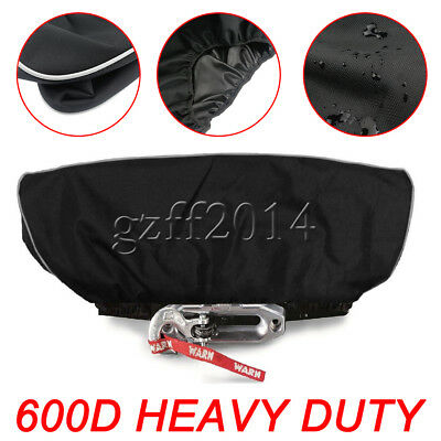 600D Black 8,500-17,500 lbs Winch Dust Cover Waterproof Soft Trailer ATV SUV CEN