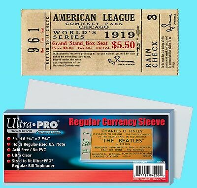 100 ULTRA PRO REGULAR Size TICKET Soft Poly Sleeve Holder Storage Event Stub
