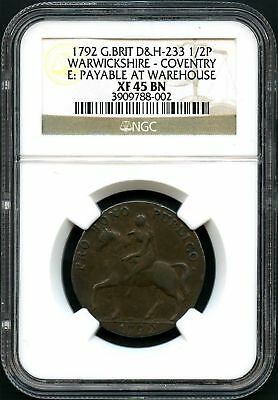 1792 G. Britain 1/2 Penny Warwickshire-Coventry Conder Token NGC XF-45BN -136938