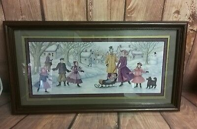 Homco Home Interiors Picture 21.5 x 11.5 Ice Sklating Snowman Joan Stier Artist