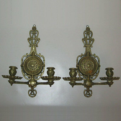 Ca. 1870's~DARLING Pair of VICTORIAN Solid Heavy BRASS Scones Signed~MEDIEVAL~